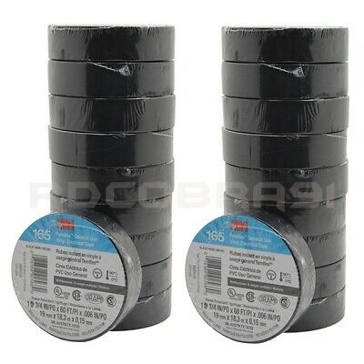 "20 Pcs Black Electrical 3M Temflex Vinyl Tape 1700 3/4"" X 60 Ft Free Shipping"