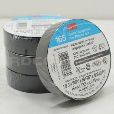 """(4 ROLLS) 3M TEMFLEX 1700 ELECTRICAL TAPE BLACK 3/4"""" x 60 FT INSULATED ELECTRIC"""
