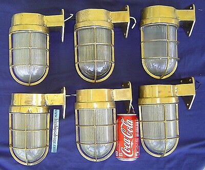 6 Matched Original Cast Brass Nautical Wall Lights - Polished and Rewired