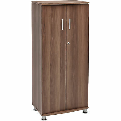 Tall Lockable Cabinet 3 Shelves for A4 Ring Binders - Piranha Walnut Effect PC6w