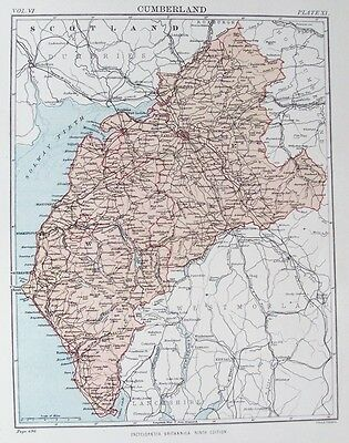 OLD ANTIQUE MAP CUMBERLAND c1880's by W & A K JOHNSTON 19th C PRINTED COLOUR