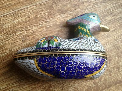 RARE Vintage Colorful Brass Enamel Duck CLOISONNE ENAMEL ON BRASS DUCK BOX China