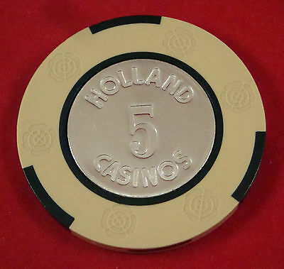 Amsterdam Holland 5 Guilder Casino House Chip EXCELLENT CONDITION Blackjack