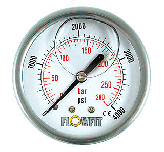 63mm Hydraulic Pressure Gauge Rear Entry 0 - 4000 psi-Free UK Delivery