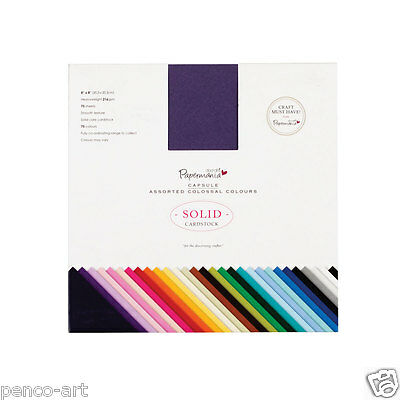 """75 different solid coloured 216gsm Papermania Colossal scrapbook card 8x8"""""""