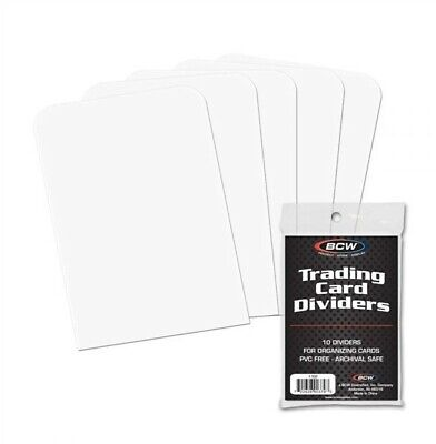 Pack of 10 BCW Tabbed White Baseball Trading Card Dividers 2 11/16 X 3 13/16