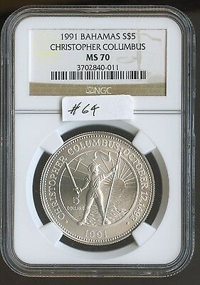 1991 Bahamas $5 Chris Columbus (#64) NGC MS70 Only 750 minted and Only 1 Other G