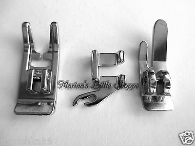BASIC 3-piece Snap-On Presser FOOT set: SINGER LOW SHANK incl FEATHERWEIGHT 221