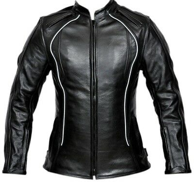 Ladies Motorcycle Jacket Leather Biker Touring Armour Protection Riding Jacket