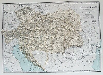 OLD ANTIQUE MAP AUSTRO HUNGARY c1870's by BARTHOLOMEW for FULLARTON ENGRAVING
