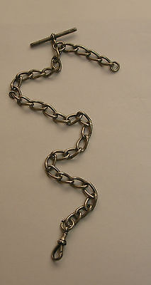 Antique England English Heavy Sterling Large Link Watch Chain 1896 Date Mark