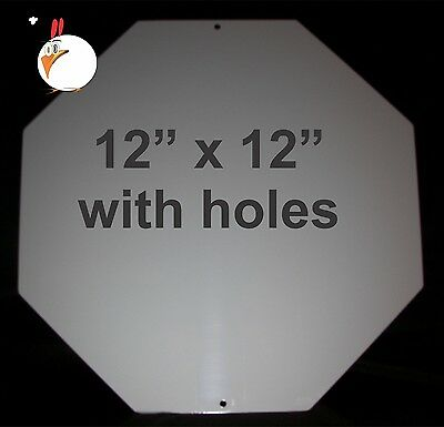 """10 Pieces STOP SIGN-  ALUMINUM  SUBLIMATION BLANKS 12""""x 12"""" WITH HOLES, DYE SUB"""