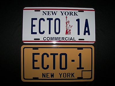 GHOST BUSTER License Plate ECTO 1A - COLLECTOR'S SET. 2 PLATES - movie replicas