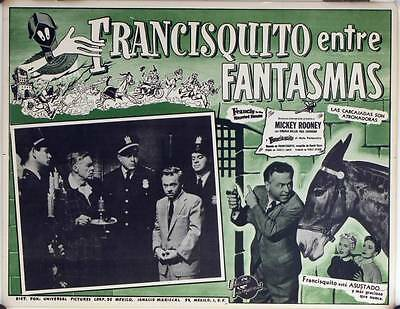 L153 RANCIS IN THE HAUNTED HOUSE Mexican Lobby card 1956 Mickey Rooney