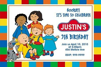 Caillou Birthday Invitation 24hr Service UPRINT 4x6 or 5x7