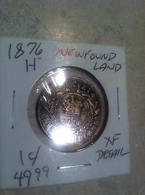 1876-H Newfoundland Canada One Cent XF Details UC-733 Free Ship USA !