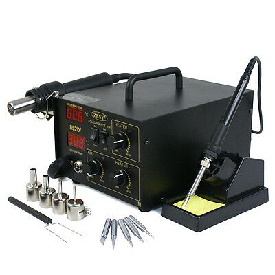 852D PLUS 5 Tips 2in1 ESD PLCC BGA SMD Soldering Rework Station Hot Air &Iron
