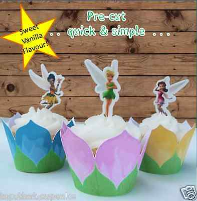 #613. Tinkerbell & Friends Fairy edible wafer cupcake toppers birthday
