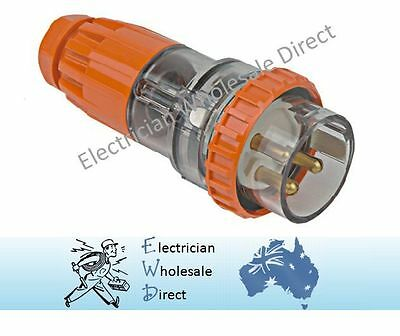 32 AMP Single Phase 3 Pin Plug Male IP66 Weatherproof Industrial Electrical 240V