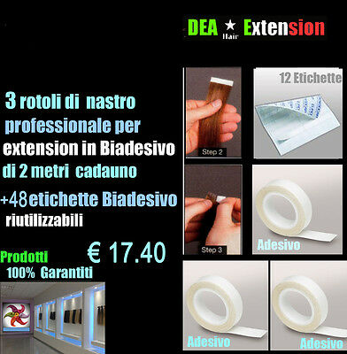 Extension Kit Sticker Hair  3 Nastri + 48 Eitchette Biadesivo  Made In Italy