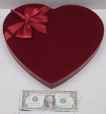 """New Valentines Day Chocolate Box Velvet Slots Heart Red Ribbon Large 12"""" Wide"""