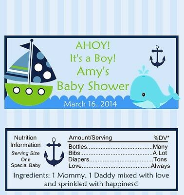 25 Personalized Ship Ahoy Baby Shower Candy Bar Wrappers