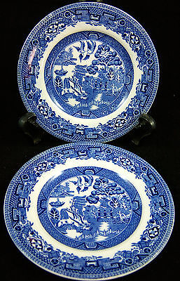"""( 2 ) Johnson Brothers Made in England Blue Willow 5.5"""" Plate"""