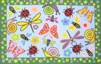 3x5 Rug Educational Insect Snail Butterfly Lady Bug Dragonfly Creatures NEW