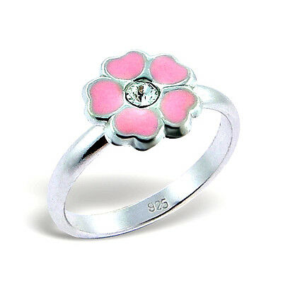 Girls Sterling Silver Pink Flower Ring - Adjustable Ring Children 925