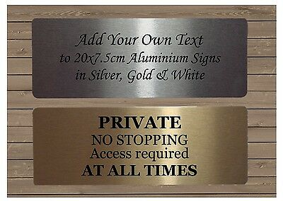 PERSONALISE LARGE BLANK METAL HOUSE OFFICE DOOR SIGN Silver White Gold 20x7.5cm