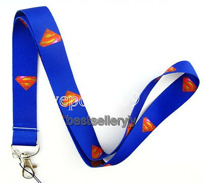 New 10 Pcs Blue Superman Neck mobile Phone lanyard Keychain straps charms Gifts