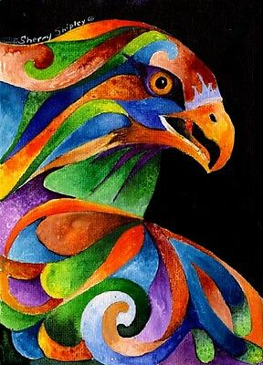 RAINBOW RAPTOR Original 5x7 Acrylic Framed Painting by Sherry Shipley