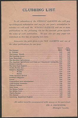 WEEKLY GAZETTE CLUBBING LIST Ed A Brewster Manager Subscription Advertising