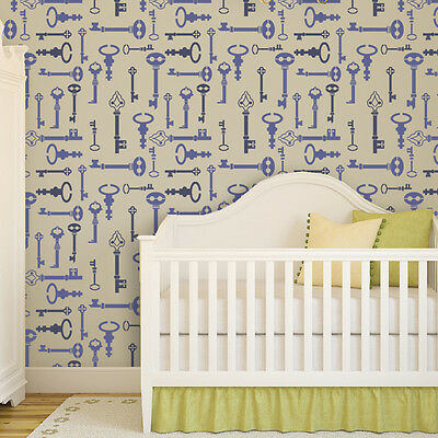 Wall Stencil Key Pattern Reusable stencil better than Wall Decals