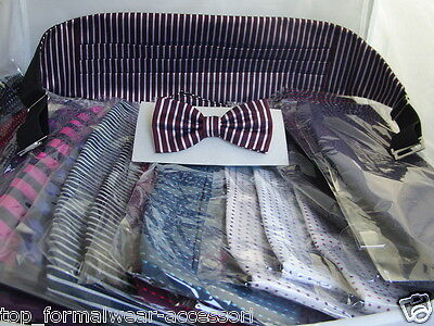 Any < New & Exclusive > Top Quality -100% Silk Mens Bow tie and Cummerbund Set