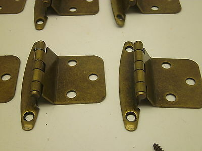 NOS VINTAGE LOT OF 10 PAIR  CABINET HINGES GOLD ANTIQUE  BRASS finish Y