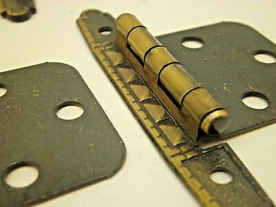 Nos Vintage 10 Pair  (20 Hinges) Cabinet Hinges Gold Antique Brass Finish Deco