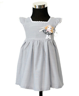 New Baby Girl's Grey Summer Cotton Party Dress From 3-6 to 9-12 Months