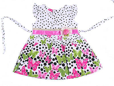 New Baby Girls Floral Cotton Party Dress in Pink,Hot pink 3-6 to 9-12 Months