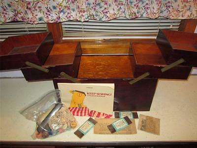 VINTAGE SOLID WOOD SEWING BOX CANTILEVER SEWING NOTION STORAGE BOX PLUS NOTIONS