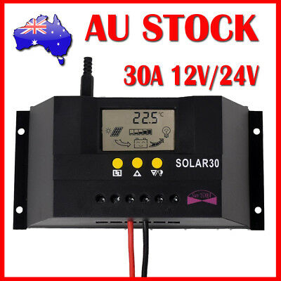 LCD 30A 12V/24V Solar Controller Regulator Charge Battery Protection CE Certify