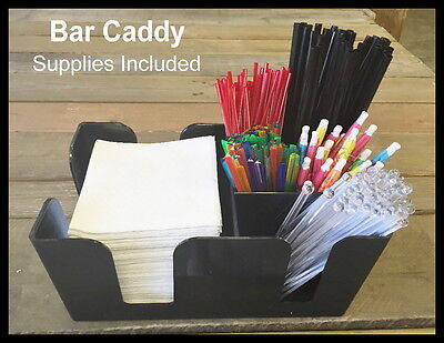 6-Compartment Plastic Bar Caddy Black ***SUPPLIES INCLUDED