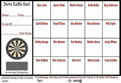 Darts 20 Square Scratch Cards, Raffle Cards, fundraising, charity