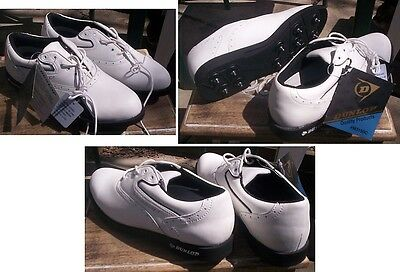 Dunlop White Leather Saddle Golf Shoes w/ Champ Spikes