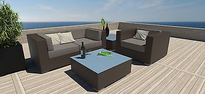 5 PC Modern Outdoor All Weather Wicker Rattan Patio Set Sectional Sofa Furniture