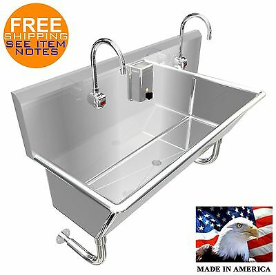 "Wash Up Hand Sink 2 Users Multistation 48"" Elct Faucet 12"" Tub Deep Made In Usa"