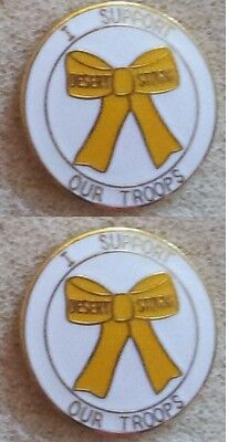 Brand New DESERT STORM I SUPPORT OUR TROOPS Set of 2 Lapel Pin