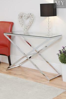 Anikka Console Table chrome stand and Glass Top
