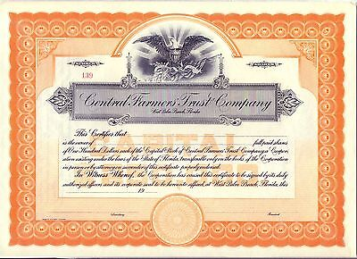 Central Farmers Trust Company Stock Certificate West Palm Beach Florida Bank