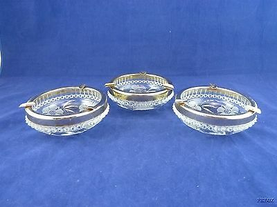 Set of 3 Vintage Cut Etched Glass Ashtrays with Silver Edges & Cig Rest